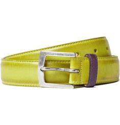 PS by Paul Smith Yellow Burnished Leather Belt