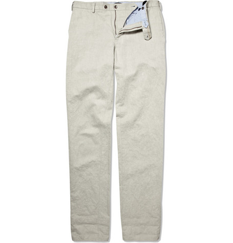 Slowear Incotex Straight-Leg Linen-Blend Chinos