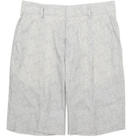 Alfred Dunhill Fish-Print Pleated Shorts