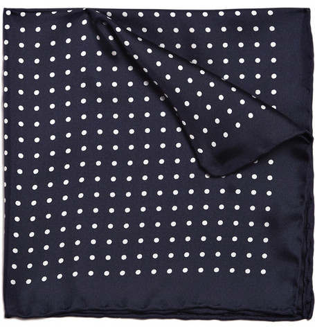 Drake's Dotted Silk Pocket Square