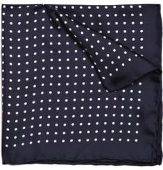 Drakes Dotted Silk Pocket Square