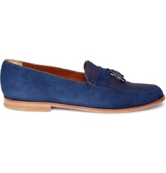 B Store Suede and Canvas Tassel Loafers