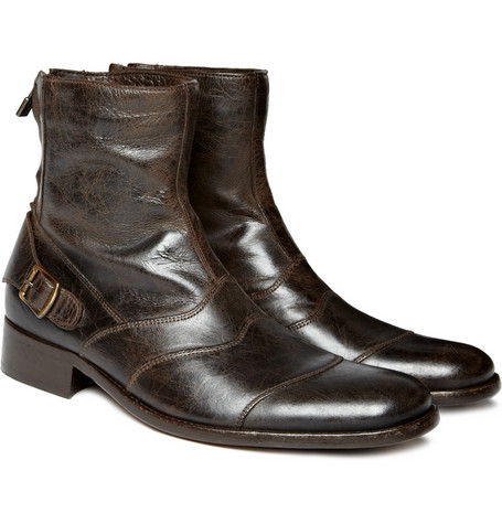 Belstaff Townmaster Aged-Leather Ankle Boots