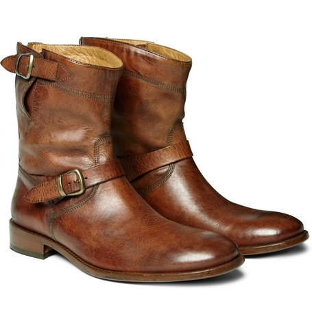 Belstaff Barkmaster Aged-Leather Buckle Boots