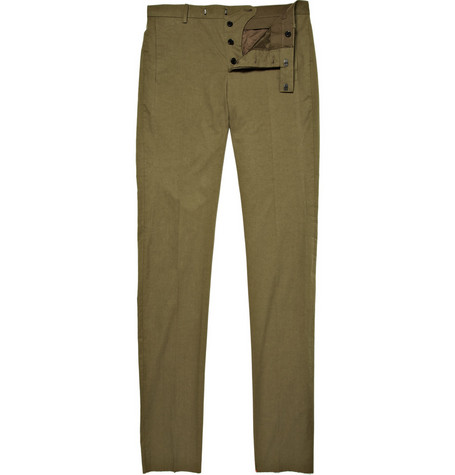 Marni Slim Fit Green Gabardine Chinos