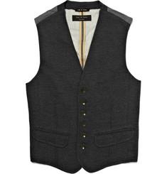 Rag & bone Grosvenor Merino Wool Fronted Waistcoat
