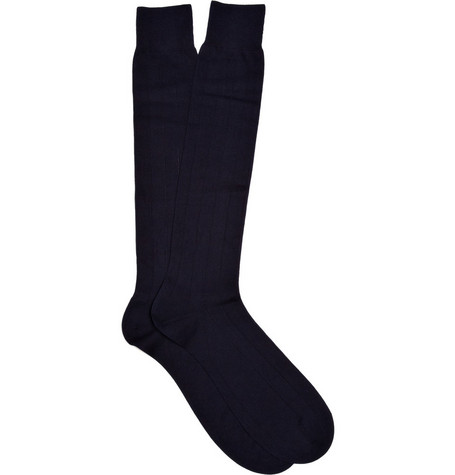 Pantherella Ribbed Cotton-Blend Knee Length Socks