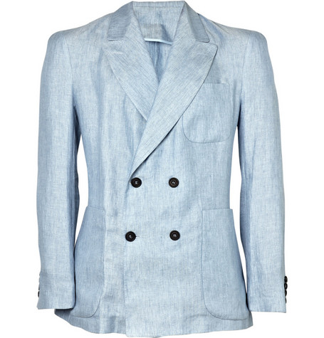 E. Tautz Double-Breasted Peak Lapel Linen Blazer