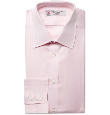 Turnbull & Asser Loose Fit Herringbone Cotton Shirt