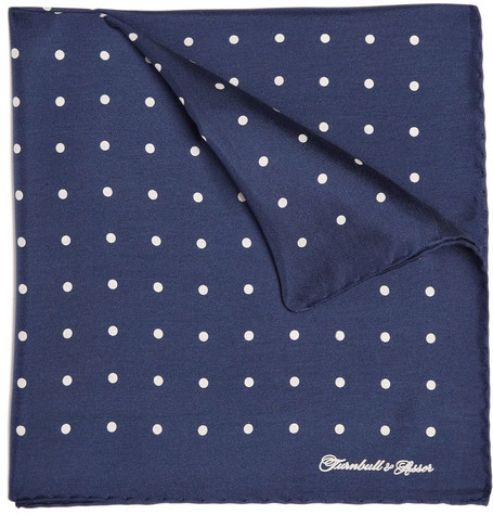 Turnbull & Asser Spotted Silk Pocket Square