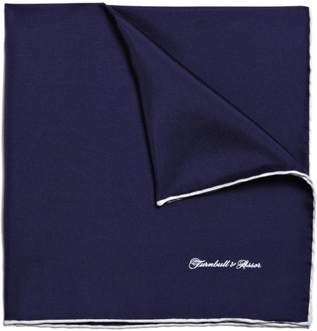 Turnbull & Asser Navy Silk Pocket Square