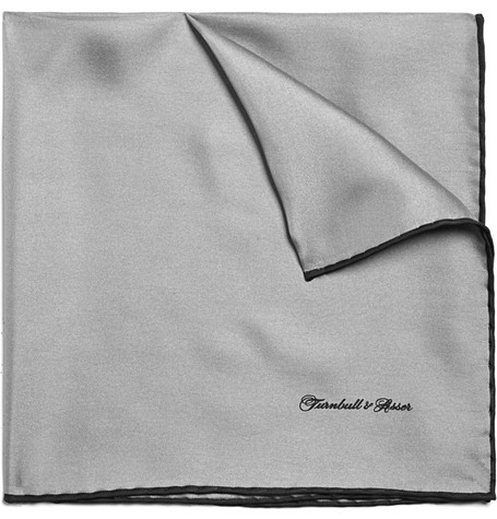 Turnbull & Asser Grey Silk Pocket Sqaure