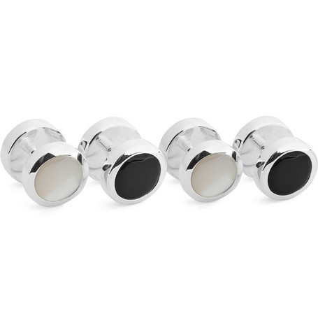 Turnbull & Asser Set of Four Pearl and Onyx Dress Shirt Studs
