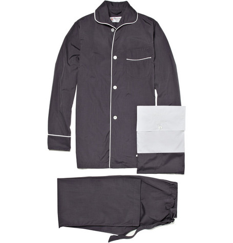 Turnbull & Asser Grey Pyjamas with Piping