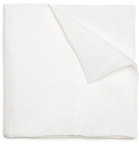 J.Crew White Linen Pocket Square