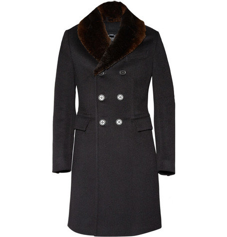 Burberry Prorsum Rabbit Collar Wool-Blend Coat