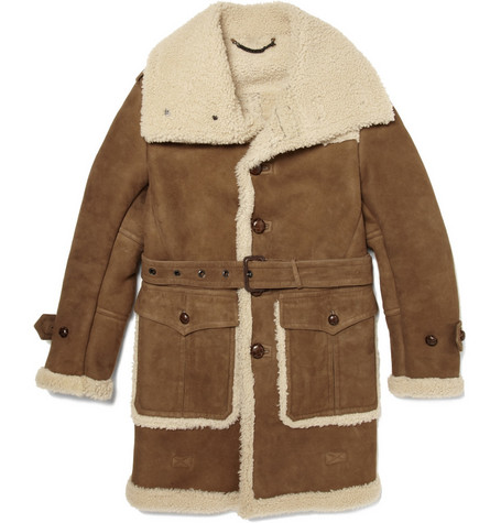 Burberry Prorsum Leather and Shearling Coat