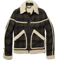 Burberry Prorsum Plaid and Shearling Jacket