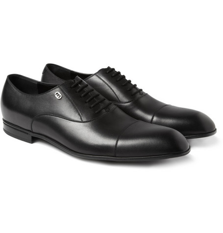 Gucci Leather Lace Up Oxford Shoes
