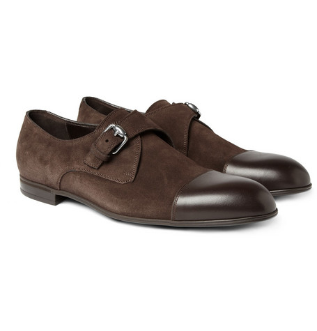 Gucci Suede and Leather Monk-Strap Shoes