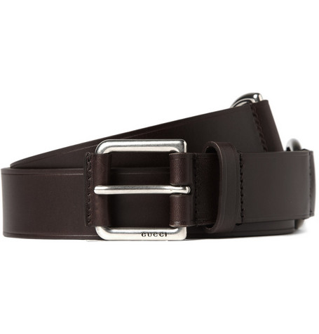 Gucci Double D-Ring Leather Belt