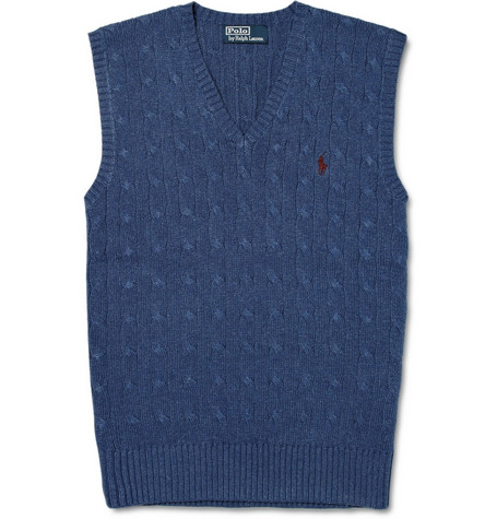 Polo Ralph Lauren Cable Knit Silk Vest