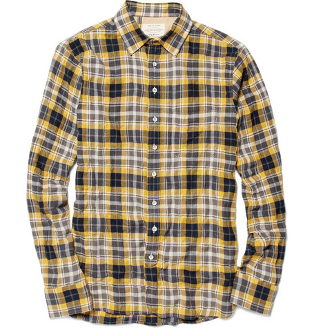 Rag & bone Three Quarter Placket Plaid Shirt