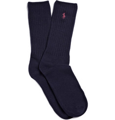 Polo Ralph Lauren Navy Ribbed Logo Socks