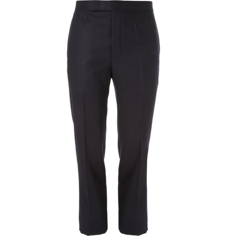 Black Fleece Wool Flannel Trousers