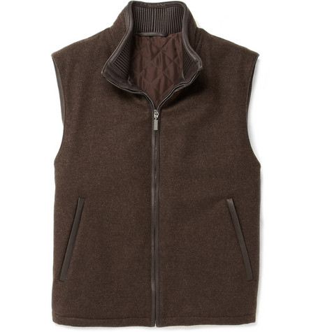 Brioni Cashmere and Leather Gilet