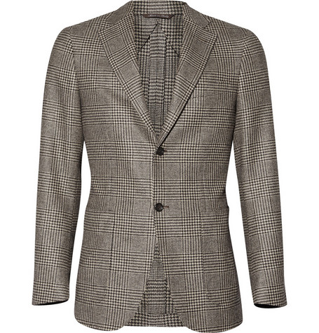 Canali Kei Prince of Wales Plaid Wool Blazer
