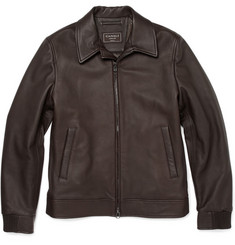 Canali Zipped Leather Jacket