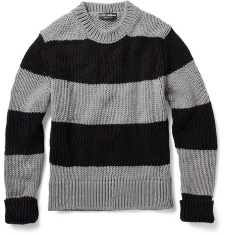 Dolce & Gabbana Striped Ribbed Knit Wool-Blend Sweater