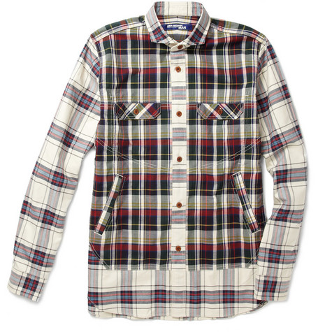 Junya Watanabe Multi Plaid Cotton Canvas Shirt