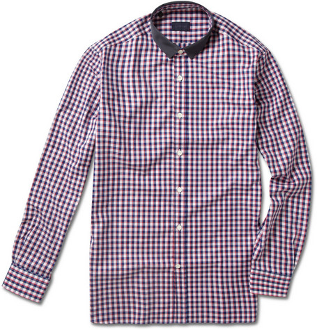 Lanvin Grosgrain Collar Checked Shirt