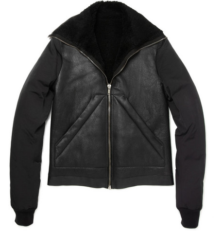 Rick Owens Shearling Bomber Jacket with Contrast Sleeves