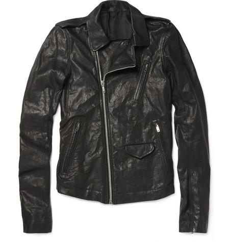 Rick OwensStonewashed Leather Biker Jacket