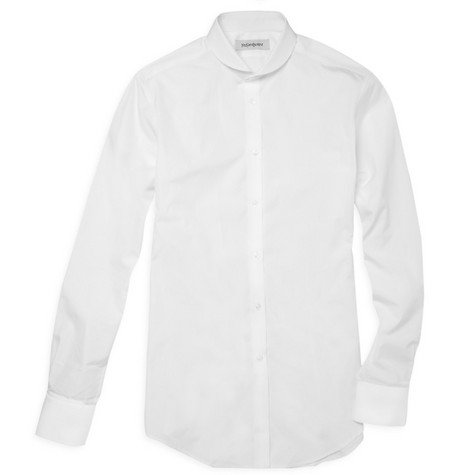 Yves Saint Laurent Round Collar Cotton Shirt