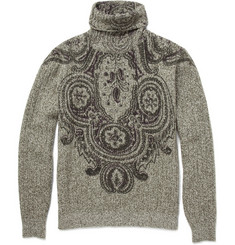 Etro Printed Ribbed Roll Neck Sweater
