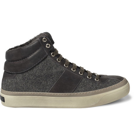 Jimmy Choo Shearling Lined High Top Sneakers