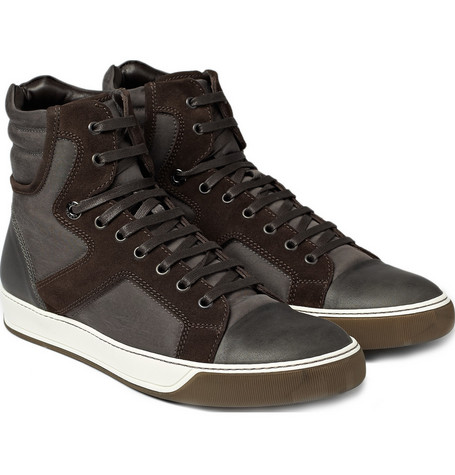 Lanvin Leather and Nylon Panelled Sneakers