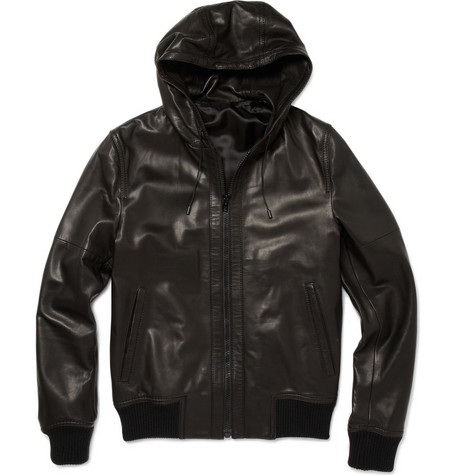 Mens Hooded Leather Jacket-Mens Hooded Leather Jacket
