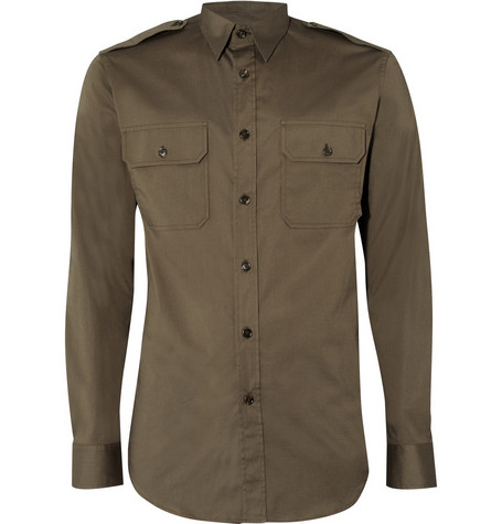 Ralph Lauren Black Label Cotton Blend Military Shirt