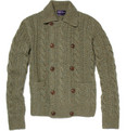 Ralph Lauren Purple Label Double-Breasted Cable Knit Cashmere Cardigan