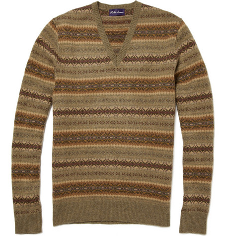 Ralph Lauren Purple Label Cashmere Blend Fair Isle Sweater
