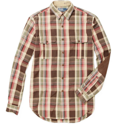 Polo Ralph Lauren Plaid Shirt with Suede Elbow Patches