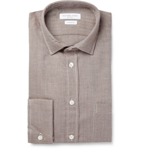 Richard James Herringbone Cotton and Cashmere-Blend Shirt