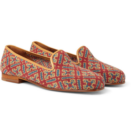 Stubbs & Wootton Needlepoint Tapestry Slippers