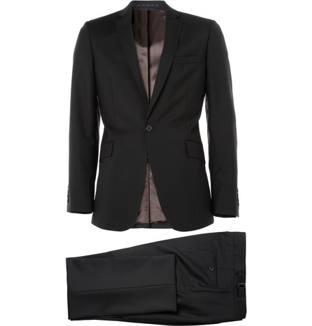 Spencer Hart Black Slim-Lapel Wool Suit