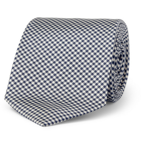 Drake's Slim Gingham Check Silk Tie